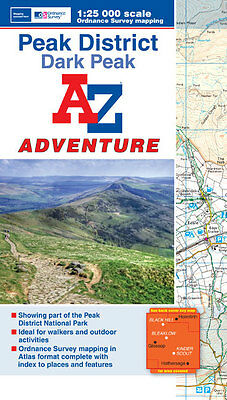 Peak District (Dark Peak) Adventure Map by A-Z Maps (Paperback, OS 25000 map)