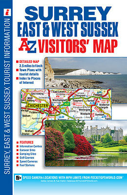 Surrey, E & W Sussex Visitors Map by A-Z Map Company (Sheet map, folded, 2014)