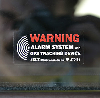 4 x CAR ALARM and GPS TRACKING SYSTEM - EXTERNAL application STICKER Decal