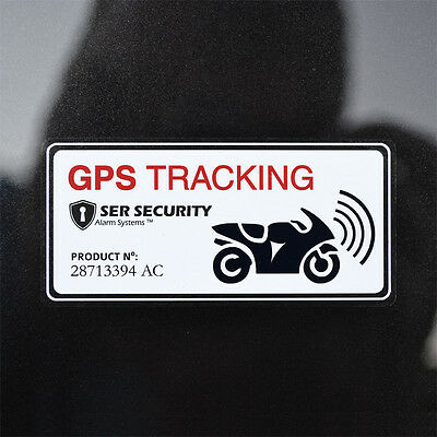 2x MOTORBIKE SECURITY STICKERS - Alarm, GPS, Tracking Device - Motorcycle Bike