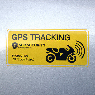 2x MOTORBIKE SECURITY STICKERS - Alarm, GPS Tracking - Motorcycle Bike Scooter