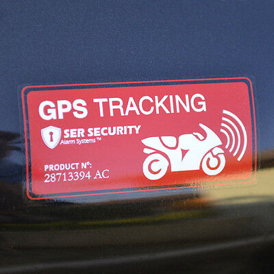 2x MOTORBIKE SECURITY STICKERS - Alarm System, GPS Tracking - Motorcycle Bike