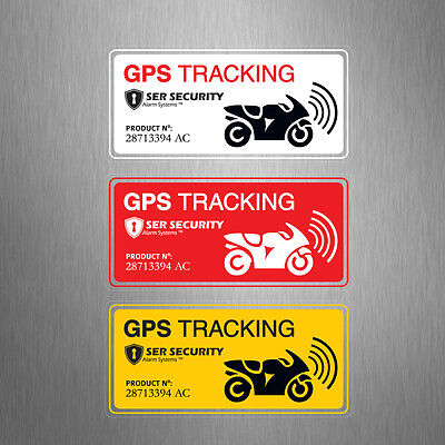 3x2 MOTORBIKE SECURITY STICKERS - Alarm, GPS Tracking - Motorcycle Bike Scooter
