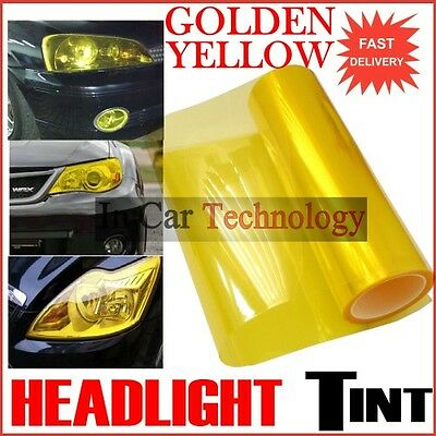 Extra-Wide 40cm YELLOW Vehicle Headlight Tail Lights Protection Wrap Tint Film