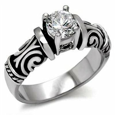 Stainless Steel Round CZ Antique Style Engagement Wedding Ring