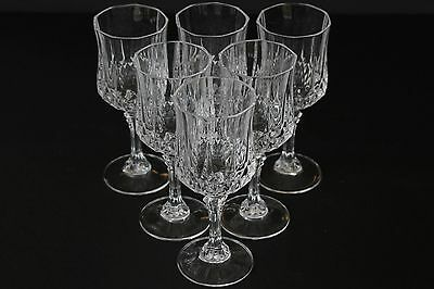 "Beautiful Set of 6 Cristal D'Arques 7.3"" Wine Glasses CDA Crystal Glass"
