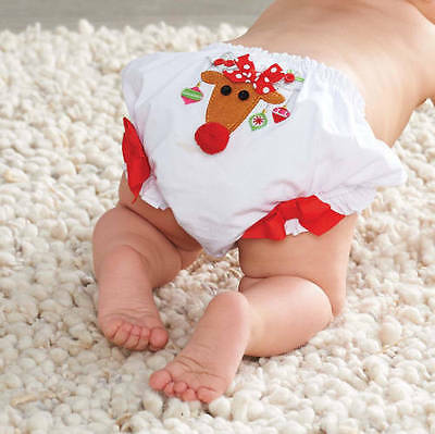 Baby Girl Mud Pie ~ Reindeer Christmas ~ Cotton Baby Bloomers Nappy Cover Xmas