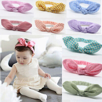 Newborn Baby Kids Girls Infant Rabbit Bow Headband Hairband Headwear Turban Knot