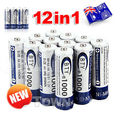 12 PCS BTY AAA Rechargeable Battery Recharge Batteries 1.2V 1000mAh Ni-MH OZ