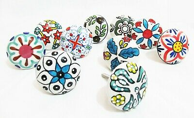 Vintage Shabby Chic Color Ceramic Knobs Cupboard Cabinet Door Drawer Pull Handle