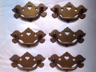 6 Pc. Vintage Solid Cast Brass Drawer Pulls with Original Patina