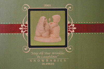 "Department 56 Snowbabies ""MAY ALL YOUR WRINKLES BE LAUGHLINES"" MIB 2005 NEW"