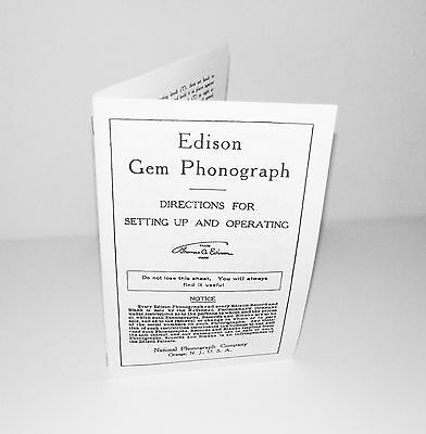 Edison Gem Phonograph Instruction Manual Reproduction with Spare Parts List