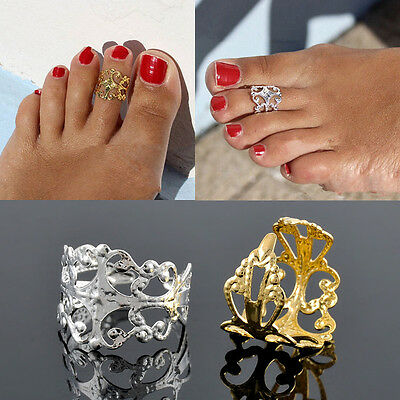 1X Celebrity Fashion Simple Retro Flower Design Adjustable Toe Ring Foot Jewelry