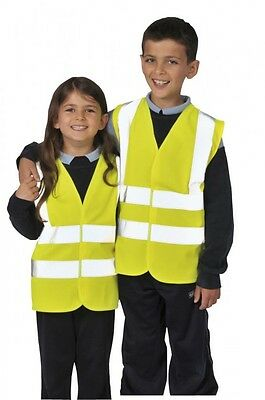 Childrens Hi Viz Vest Hi Visibility Waistcoat Kids Childs Jacket Yellow