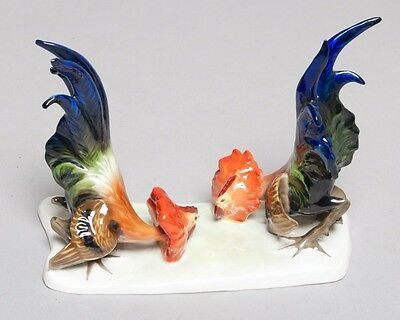 Beautiful ROSENTHAL Fighting Roosters Cock Fighting Porcelain Figurines