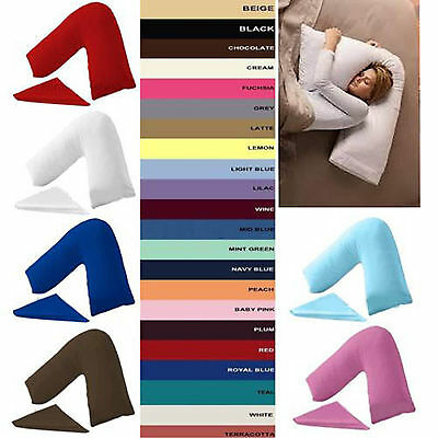 Poly Cotton V Shaped Pillow Case Cover, Back & Neck Support Orthopedic Pregnancy