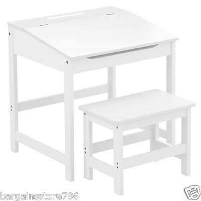 White Wooden Desk Stool Set Writing Reading Study Childrens Table Kids Seat New