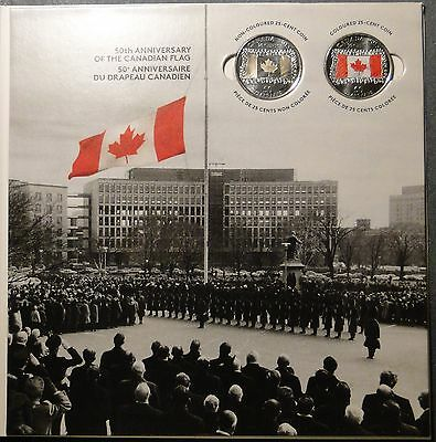 2015 Canada Flag collection card w/ BU 25 cent quarter red color and plain coins