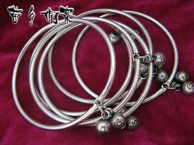 Vintage Style Handmade Miao Silver Smooth surface Double ball bracelet 10pcs