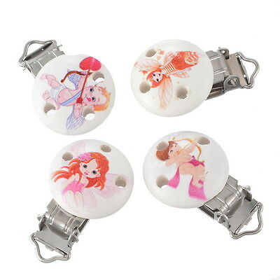 5PCs Boy Girl Pacifier Clips Round Wooden Colorful Infant Baby Soother