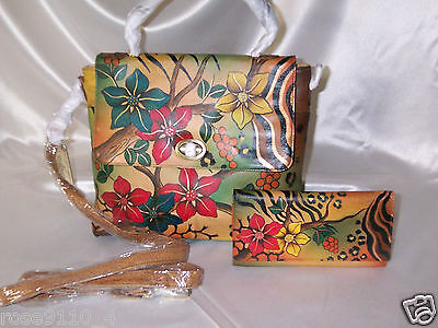 Anuschka Hand-Painted Leather Flap Lock Satchel & Wallet Safari Bloom  NEW