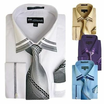 Men's French Cuff Casual Dress Shirt + Matching Tie and Hanky Set  SG-28