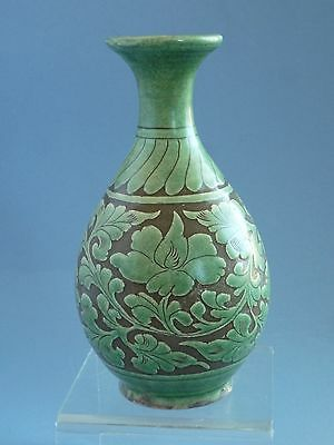 Chinese Song Dynasty (Ci Zhou) Carved Green Glazed Vase