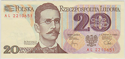 (EP24) 1982 Poland 20 ZLOTYCH bank note UNC