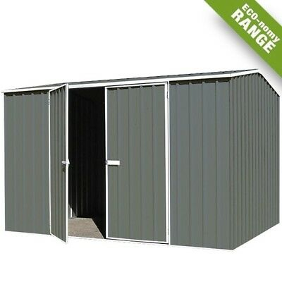 Absco Eco Range Shed 3mW x 2.26mD x 2mH Storage DOUBLE DOOR Garden Sheds GREY