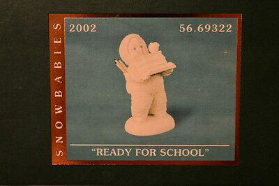 "DEPARTMENT 56 Snowbabies ""READY FOR SCHOOL"" NIB FIGURINE 2002 COLLECTIBLE"
