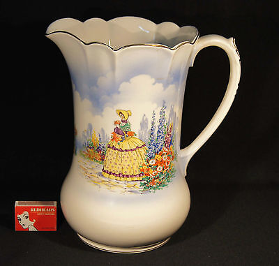 1930's Falcon Ware Large Yellow Crinoline Lady 26 Cm Jug Victor Made In England.