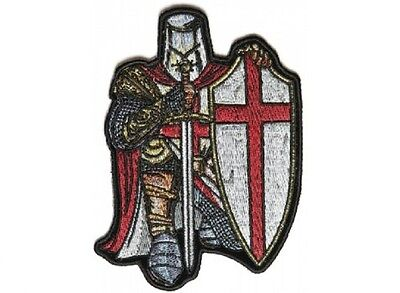 "(F27) RED CRUSADER KNIGHT 3.25"" x 4.5"" iron on patch (4826) Templar"
