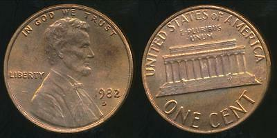 United States, 1982-D One Cent, Lincoln Memorial (Large Date Copper)Uncirculated