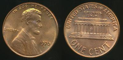 United States, 1970-D One Cent, Lincoln Memorial - Uncirculated