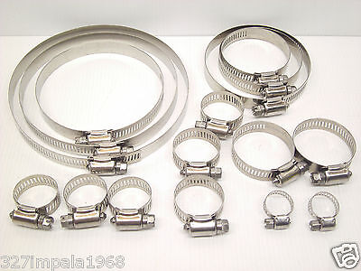 16 Piece Hose Clamp Set 316 Marine Grade Stainless Steel 6-16mm up to 130-152mm