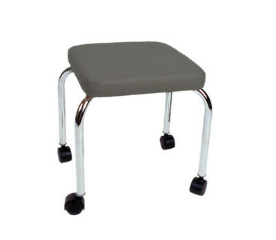 "Mobile stool, no back, square top, 18"" H, gray upholstery- 16-1602 NEW"