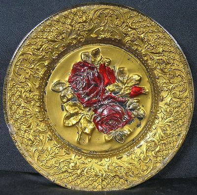 "Antique Victorian Heavy Press Art Glass 8 1/2"" Plate Encrusted Gold Roses"