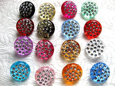 7 Buttons with Decorating in many colors,Colour choice,25mm, Plastic, K54