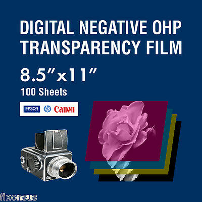 "OHP Digital Negative Transparency Film 8.5"" x 11"" - 100 Sheets"