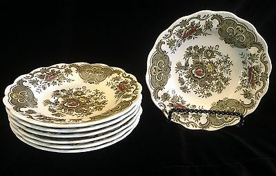 Ridgway Staffordshire England WINDSOR  7 DEEP SAUCERS  Multi color  Perfect