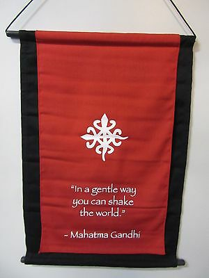 Mini Red Inspirational Gandhi Affirmation Wall Hanger Scroll