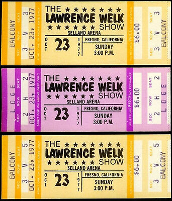 3 Super Rare Unused Lawrence Welk Show Tickets Oct 23 1977