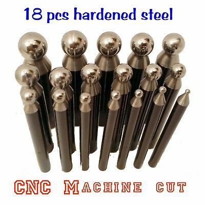 18pcs Delux Dapping Punches Hardened Steel CNC cut Mirror Polished 2.30~16.20mm