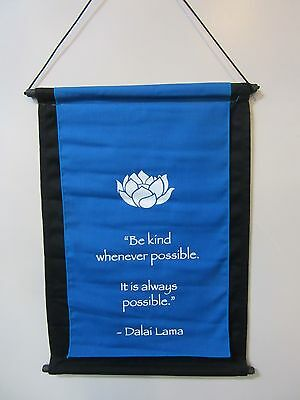 Mini Turquoise Inspirational Lotus Flower Affirmation Wall Hanger Scroll