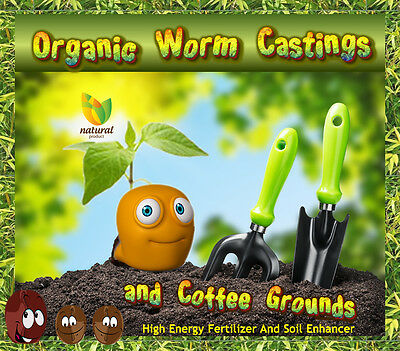 5 LB Worm Castings Plus Aged Year Old Coffee Grounds AWSESOME Soil Builder