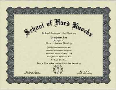 A School of Hard Knocks Personalized Custom Diploma Degree  with Free Shipping