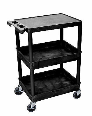 Luxor 18-Inch Flat Top and Tub Middle/Bottom Shelf Cart, Black STC211-B New