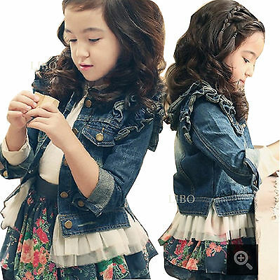 bambine bambina  manica lunga jeans Cappotto Giacca per top kids outwear costume