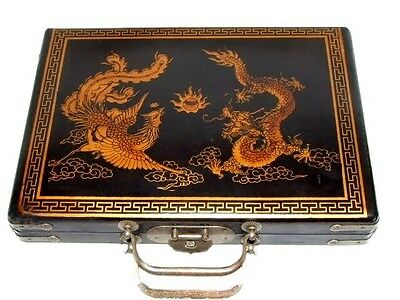Rare Chinese 144 full Tiles   MahJong set with wood leather Dragon&Phoeni Box